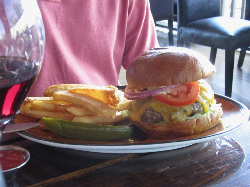 A very large and very satisfying burger at The Gambling Cowboy Chophouse and Saloon in Temecula, CA, with a nice cabernet
