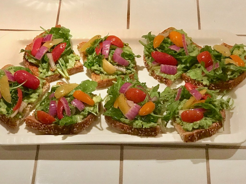 Avocado Toast Close-Up with Colorful Salad