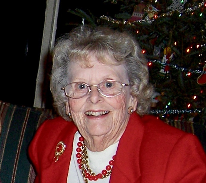 Ruth Violet Hiatt Holt, all sparkly and festive in red at Christmas in 2004