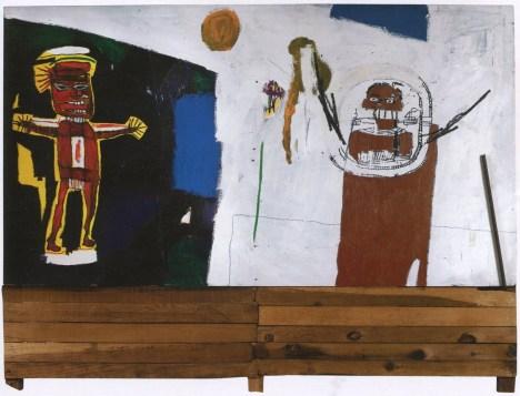 Water-Worshipper, 1984, Basquiat, acrylic, oil stick, silkscreen, wood and metal on panel, 210x275x10cm