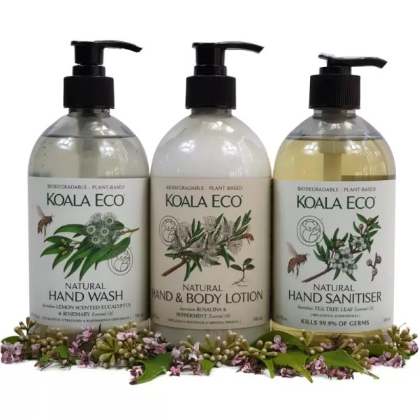 Koala Eco super clean protect destress selection of hand wash hand and body lotion rosalina and peppermint