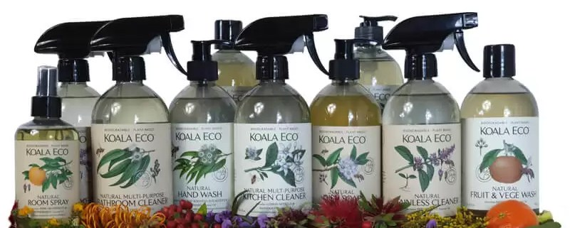 Koala Eco wall to wall selection hand wash sanitiser bathroom glass floor dish soap kitchen stainless fruit and veg wash and room spray
