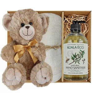 Bailey Teddy Bear with Koala Eco Natural Hand Sanitiser and Soft Cream Bamboo Hand Towel Gift Boxed by Gloves and Sanitisers – stock no. GBBaileyHTHSSoftCream