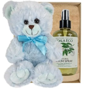 Baby Blue Teddy Bear with Koala Eco Room Spray and Sandstone Bamboo Hand Towel Gift Boxed by Gloves and Sanitisers
