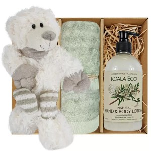 Ellie Stripey Sox Teddy Bear with Koala Eco Natural Hand & Body Lotion and Gum Green Bamboo Hand Towel Gift Boxed by Gloves and Sanitisers - stock no. GBEllieHTRBodyGGrn
