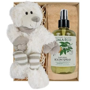 Ellie Stripey Sox Teddy Bear with Koala Eco Room Spray and Sandstone Bamboo Hand Towel Gift Boxed by Gloves and Sanitisers