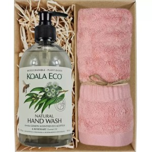 Koala Eco Natural Hand Wash with a Coral Pink Bamboo Hand Towel Gift Boxed by Gloves and Sanitisers