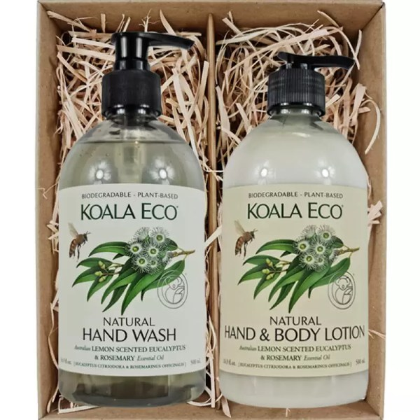 Koala Eco Natural Hand Wash and Natural Hand and Body Lotion Lemon Scented Eucalyptus & Rosemary in a gift box from Gloves and Sanitisers