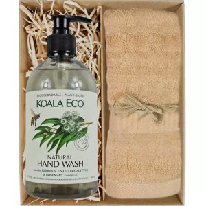 Koala Eco Natural Hand Wash with a Sandstone Bamboo Hand Towel Gift Boxed by Gloves and Sanitisers