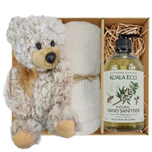 Theo Teddy Bear with Koala Eco Natural Hand Sanitiser and Soft Cream Bamboo Hand Towel Gift Boxed by Gloves and Sanitisers – stock no. GBTheoHTHSSoftCream