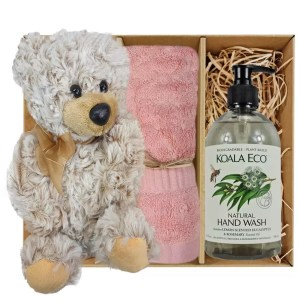 Theo Teddy Bear with Koala Eco Natural Hand Wash and Coral Pink Bamboo Hand Towel Gift Boxed by Gloves and Sanitisers – stock no. GBTheoHTHWCoralPink