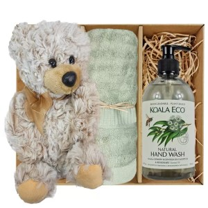 Theo Teddy Bear with Koala Eco Natural Hand Wash and Gum Green Bamboo Hand Towel Gift Boxed by Gloves and Sanitisers – stock no. GBTheoHTHWGumGreen
