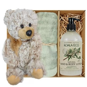 Theo Teddy Bear with Koala Eco Natural Hand & Body Lotion and Gum Green Bamboo Hand Towel Gift Boxed by Gloves and Sanitisers - stock no. GBTheoHTRBodyGGrn