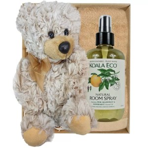 Theo Teddy Bear with Koala Eco Room Spray and Sandstone Bamboo Hand Towel Gift Boxed by Gloves and Sanitisers