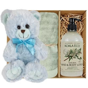 Baby Blue Teddy Bear with Koala Eco Natural Hand & Body Lotion and Gum Green Bamboo Hand Towel Gift Boxed by Gloves and Sanitisers - stock no. GBBlueHTRBodyGGrn