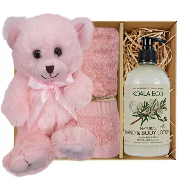 Baby Pink Teddy Bear with Koala Eco Natural Hand & Body Lotion and Coral Pink Bamboo Hand Towel Gift Boxed by Gloves and Sanitisers