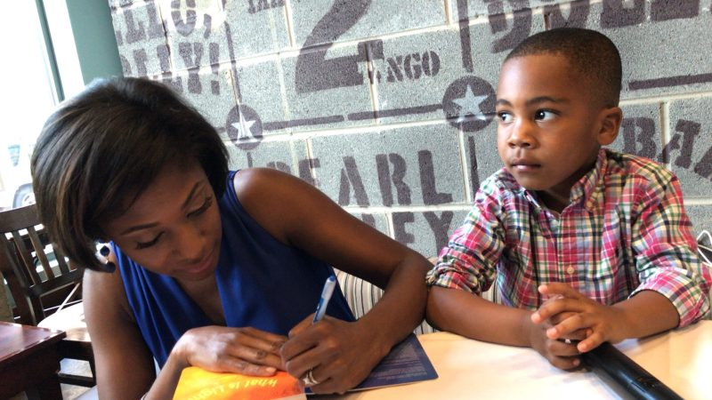 Markette and her son at the What Is Light book party