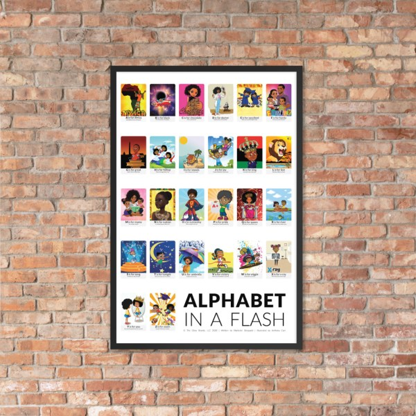 african american flash card poster framed black border flashcards abc flashcard hanging on brick wall picture