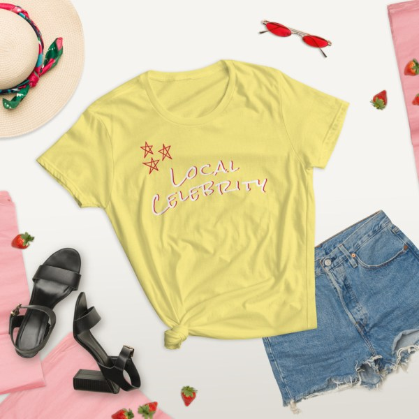 yellow local summer lifestyle celebrity short sleeve women's cotton t-shirt classic fit tee