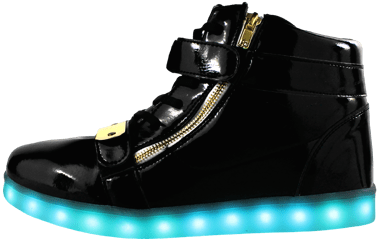 Glow Togs cool LED High Top Black shiny boot
