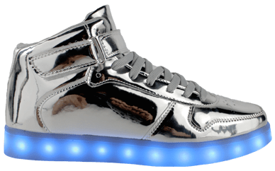 Glow Togs Silver High Top LED Sneaker