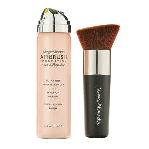 MagicMinerals AirBrush Foundation by Jerome Alexander – 2pc Set with Airbrush Foundation and Kabuki Brush - Spray Makeup with Anti-aging Ingredients for Smooth Radiant Skin