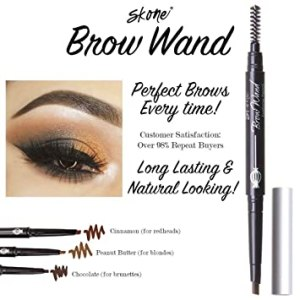 Skone Cosmetics Totally Defined Eyebrow Wand and Pencil Liner Waterproof, Smudgeproof, and Long Lasting pencil liner. Best Skone brow wand chocolate