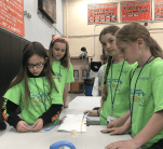 The blue team works on their bridge. Left to right: Emma Abbott, Hanna Fitzgerald, Katie Odden and Lindsey Kenny. (Courtesy Photo GLTS)