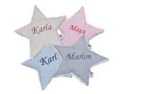 Waermekissen Stern mit Namen bestickt für Babys