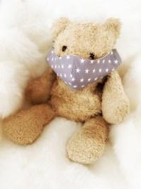 Kindermaske Premium Sterne grau