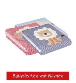 Babydecken mit unterschiedlichen Tierapplikationen als Babygeschenk zur Geburt und Taufe