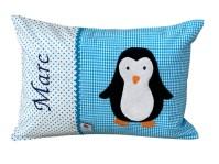 Namenskissen mit Pinguin fuer Babys