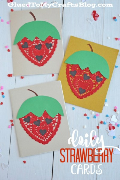 Doily Strawberry Cards - Kid Craft