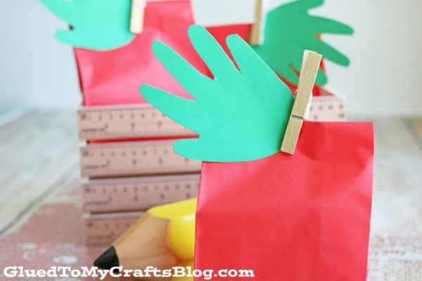 Handprint Apple Treat Bags
