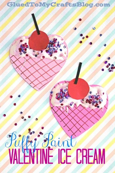 Puffy Paint Valentine Ice Cream - Kid Craft