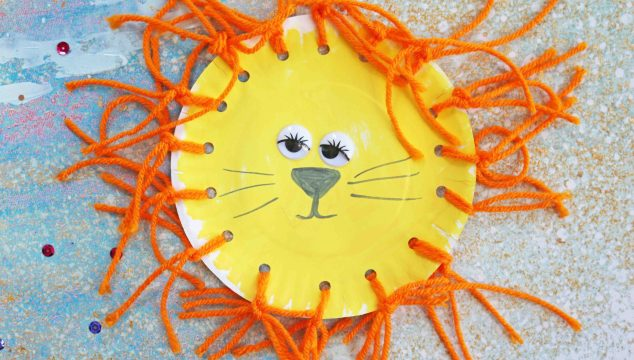 Paper Plate Yarn Lion – Kid Craft