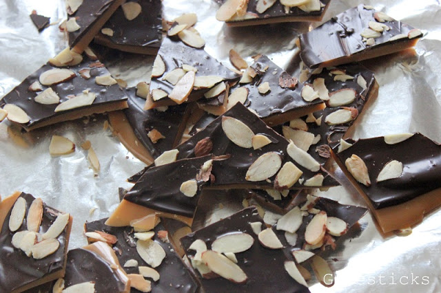 english toffee broken into bite sized pieces.