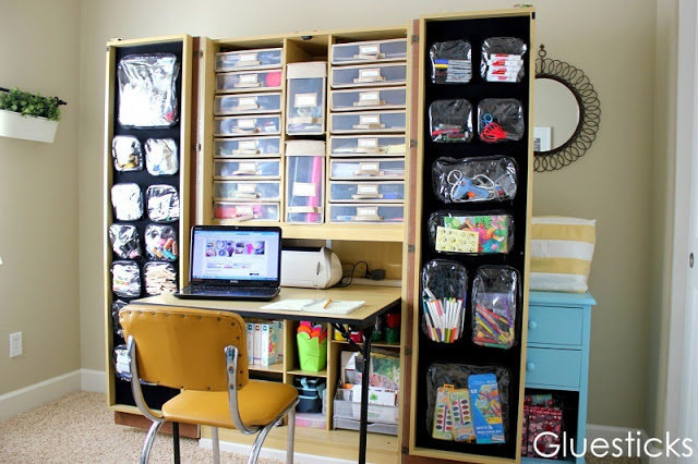 organized office with craft box