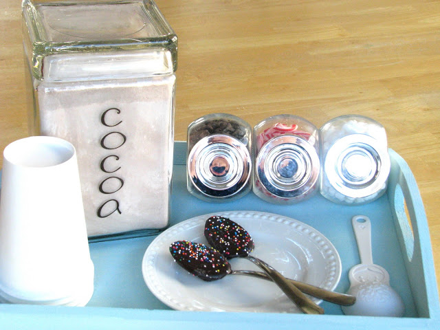 It is really easy to make your own hot cocoa mix. Store in a cute container and use in this mini hot cocoa bar for delicious hot cocoa all winter long.