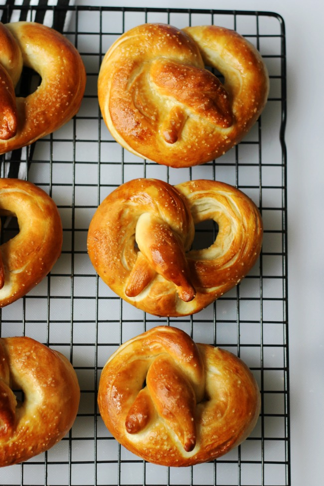 pretzels on cooking rack