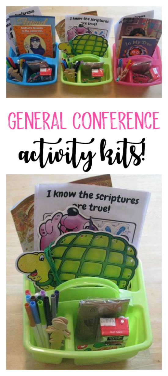 These General Conference activity kits are perfect for keeping children entertained! Filled with activity and snacks that can be rotated between each session.