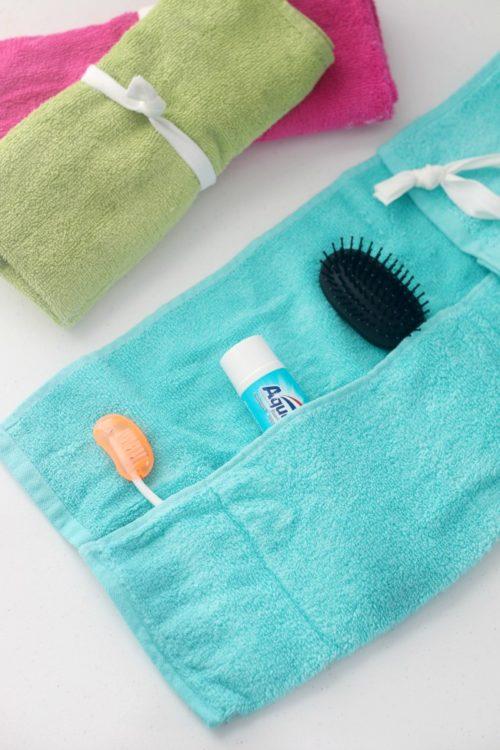 Sewing tutorial: DIY hand towel travel organizer