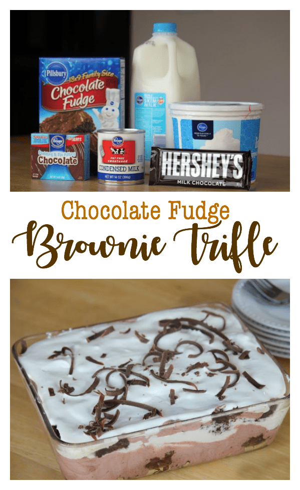 Brownies, chocolate pudding, whipped cream are layered to create this chocolate fudge brownie trifle. It sounds fancy, but it SUPER easy to make.