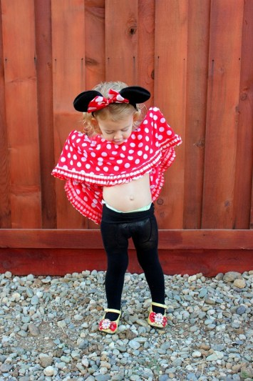 A darling DIY Minnie Mouse costume that doubles as a play dress! Long, twirly, stretchy, and easy to make.