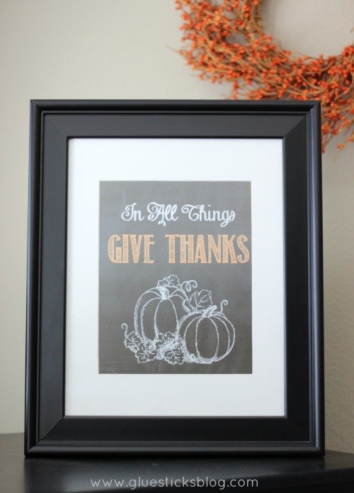 """In All Things Give Thanks"" Chalkboard Printable 