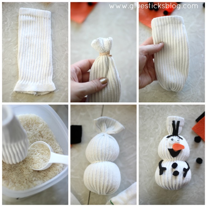 A quick and easy sock snowman for kids to make. No sewing involved! Fill with rice or pillow stuffing for a darling stuffed toy!