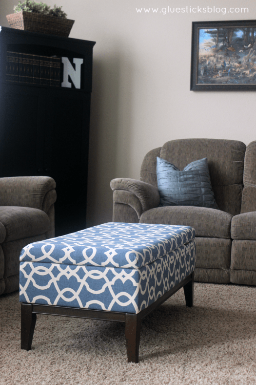 DIY Ottoman Makeover - How To Reupholster A Storage Ottoman Gluesticks