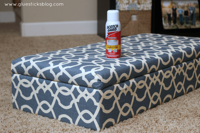 protecting reupholstered fabric - How To Reupholster A Storage Ottoman Gluesticks