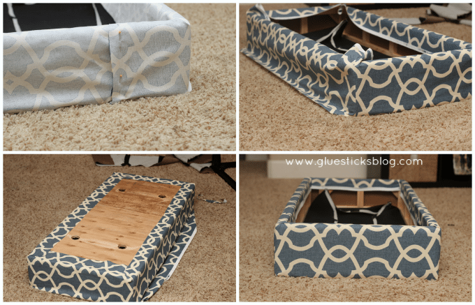 reupholstering ottoman bottom - How To Reupholster A Storage Ottoman Gluesticks