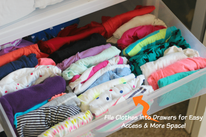 Laundry hack for organized dresser drawers! File your kid's laundry into their drawers instead of stacking it. No mess on the floor when they grab clothes!